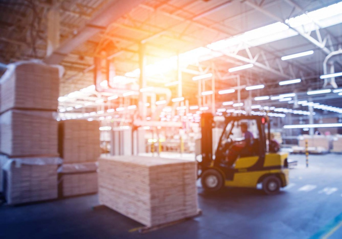 Industrial Warehouse image with Fork lift Truck